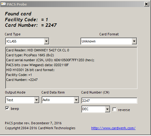 Access Card Serial Number Fob Uid Csn Facility Code Wiegand Data